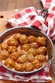stock photo of meatball  - Meatballs with tomato sauce in a pan - JPG