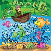 picture of game-fish  - Fisherman Maze Game  - JPG