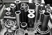 stock photo of cylinder  - Industrial steel cylinders - JPG