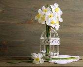 image of caged  - Fresh narcissus in decorative cage on wooden background - JPG
