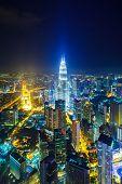 picture of petronas towers  - Kuala Lumpur at night - JPG
