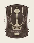 image of hookah  - Emblem with a hookah for a cafe or restaurant - JPG