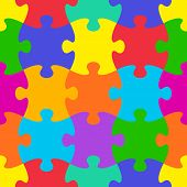 pic of puzzle  - Colorful vector jigsaw puzzle seamless background pattern - JPG