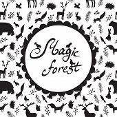 stock photo of crew cut  - magic forest pattern with silhouettes of animals - JPG