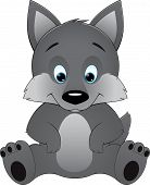 picture of wolf-dog  - Cute wolf on a white background - JPG