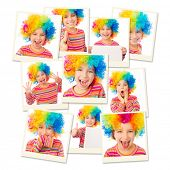 pic of wig  - photo collage girl in a colorful wig and striped T - JPG