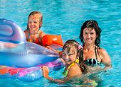 picture of swimming pool family  - Happy family  in swimming pool - JPG