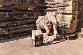 image of khajuraho  - Statue of an elephant at the entrance to Vishvanath temple - JPG