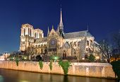 stock photo of notre dame  - Island Cite with cathedral Notre Dame de Paris - JPG