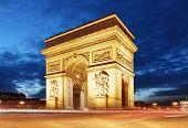 picture of charles de gaulle  - Arc De Triomphe and light trails Paris - JPG