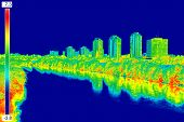 stock photo of temperature  - Infrared thermovision image panorama of Zagreb showing difference temperature - JPG