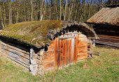 foto of wooden shack  - Traditional ukrainian wooden shed in open - JPG