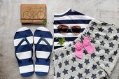 foto of clutch  - summer beach accessories strap clutch skirt sunglasses - JPG