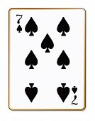 picture of spade  - The playing card the Seven of spades over a white background - JPG