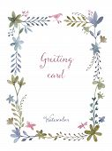 foto of greeting card design  - Watercolor rectangular frame of flowers and leaves for greeting cards invitations weddings greeting cards design elements - JPG