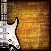 picture of music symbol  - abstract grunge brown cracked music symbols vintage background with electric guitar - JPG