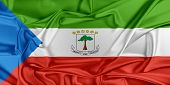 picture of guinea  - Flag of Equatorial Guinea waving in the wind - JPG