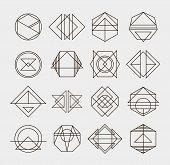 stock photo of geometric  - Set of retro line abstract hipster monochrome geometric badge logo design - JPG
