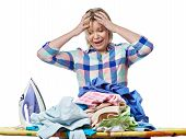 stock photo of homework  - The woman in stress from homework isolated - JPG