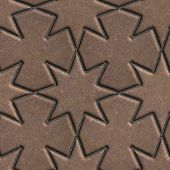 stock photo of paving  - Brown Paving Slabs Laid in the Form of Stars and Crosses - JPG