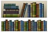 stock photo of book-shelf  - Old vintage books isolated on white vector illustration - JPG