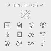 foto of internal organs  - Medicine thin line icon set for web and mobile - JPG