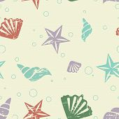stock photo of beach shell art  - Abstract seamless retro pattern with shells and starfish - JPG