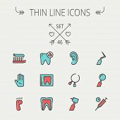stock photo of flat-foot  - Medicine thin line icon set for web and mobile - JPG