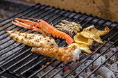 picture of charcoal  - close up grilled mixed fish on charcoals - JPG