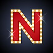 picture of letter n  - Vector illustration of realistic retro signboard letter N - JPG