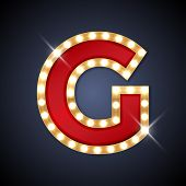 picture of letter  - Vector illustration of realistic retro signboard letter G - JPG