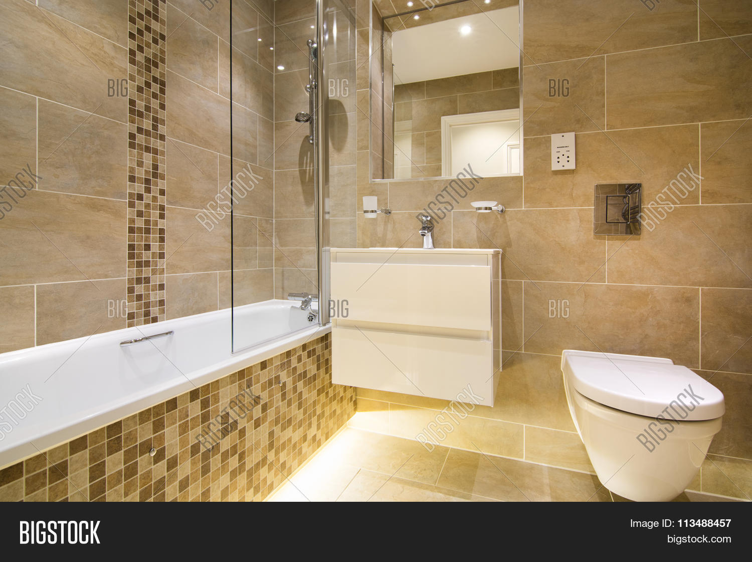 Luxury three piece bathroom beige image photo bigstock for Three piece bathroom