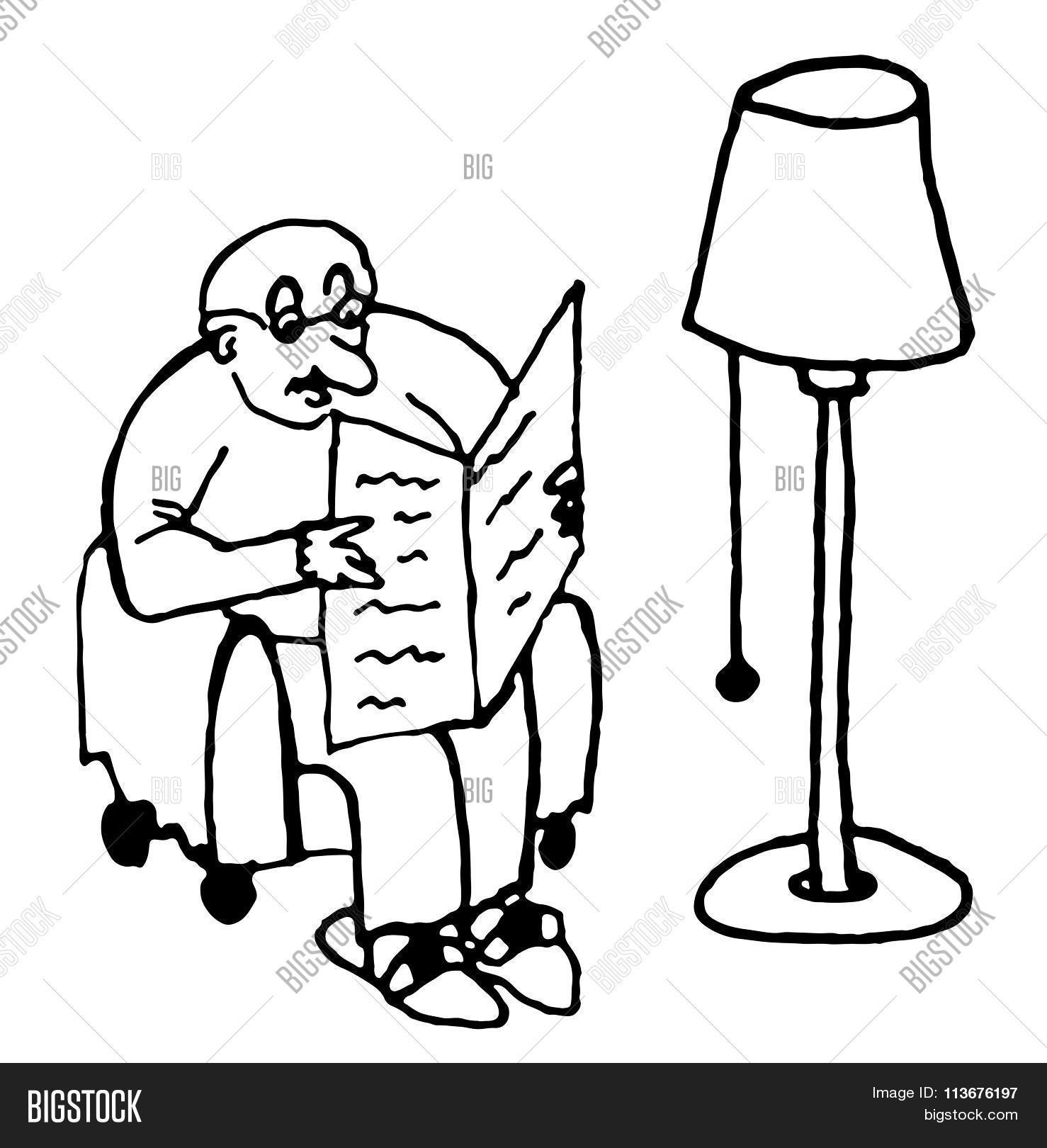 Man sitting in chair drawing - Bald Fat Man Sitting In A Chair Reading A Newspaper Under The Lamp In The Living