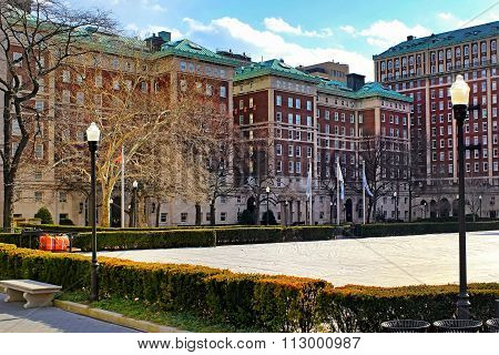 Columbia University Campus in New York City at sunset