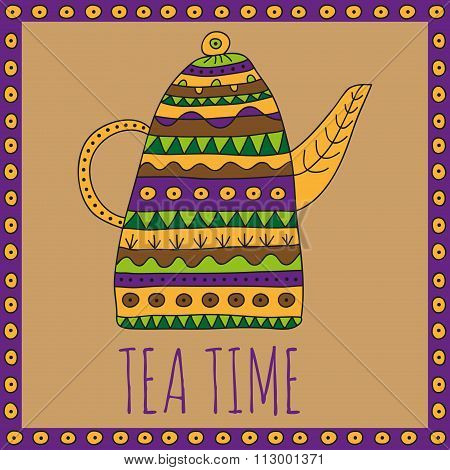 Teapot with bright ethnic ornaments