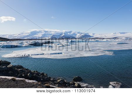 Winter landscape over Jokulsarlon lake, Iceland