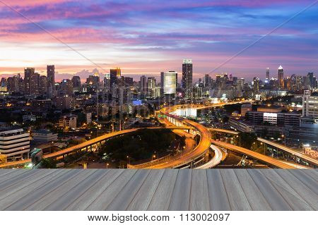 Beautiful skyline of Bangkok City downtown and road interchanged