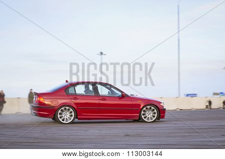 Red Car Bmw 3-series To Drift