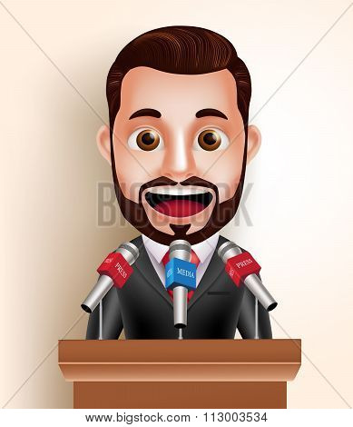 Vector Character Happy Politician Man or Speaker with Media Press Interview