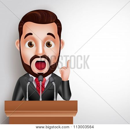 Vector Character Speaker in Conference or Having Debate Talking
