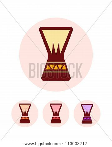 Djembe icons set