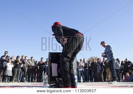Magician Performing In Retiro Park, Madrid