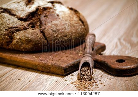 Dark Rye Bread With Caraway Seeds