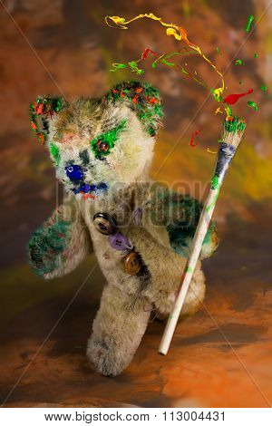 Wizard Teddy Bear With Colorful Paintbrush