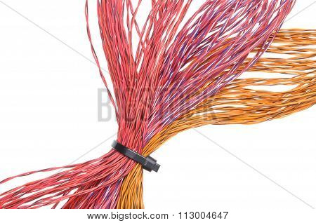 Multicolored computer cable with cable ties