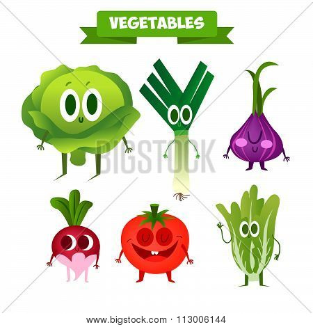 A set of cute vegetables. Illustration with funny characters.  Funny food.100% RAW.