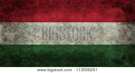 Distressed National Flag Of Hungary, 1:2 Scale