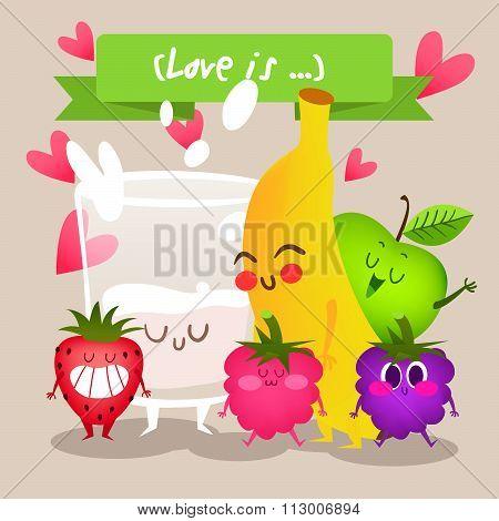 Milk and fruits apple, banana, strawberry, raspberry, blackberry. A set of cute fruit. Illustration