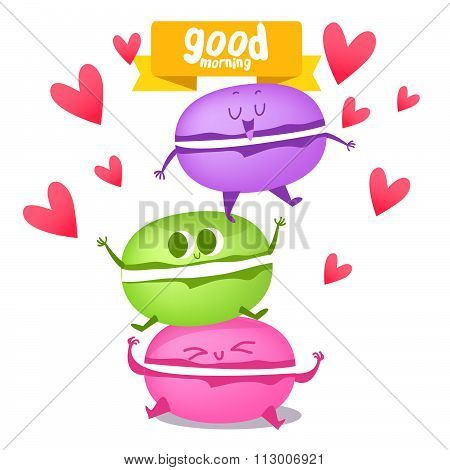 Cute macaroon in love.  Love and hearts. Funny characters. Postcard Valentine's Day. Illustration wi