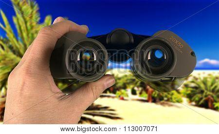 Looking through binoculars in wilderness